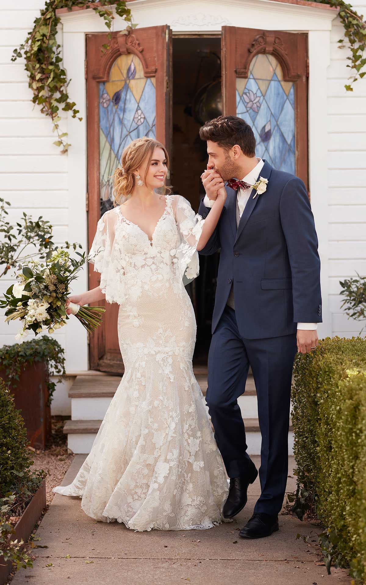 Boho wedding dress with detachable flutter sleeves wedding