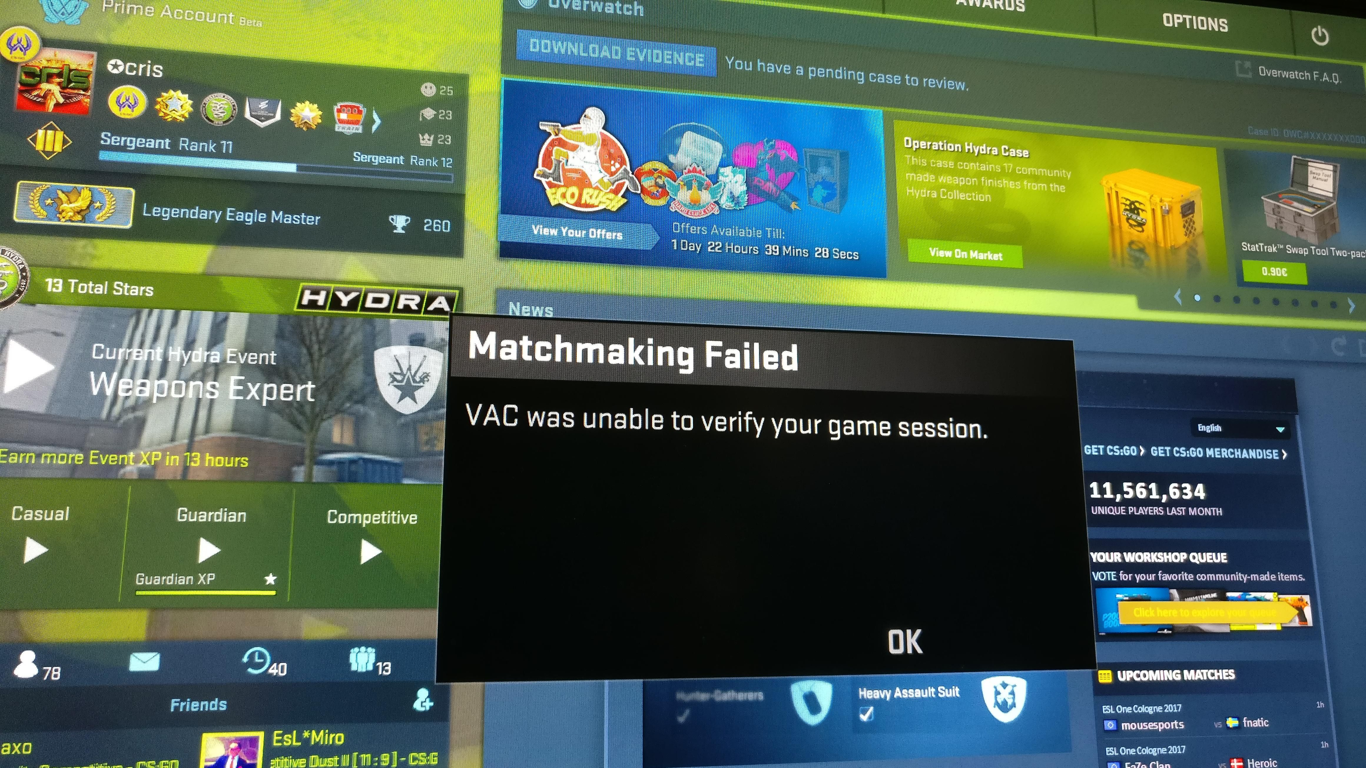 Steam matchmaking failed