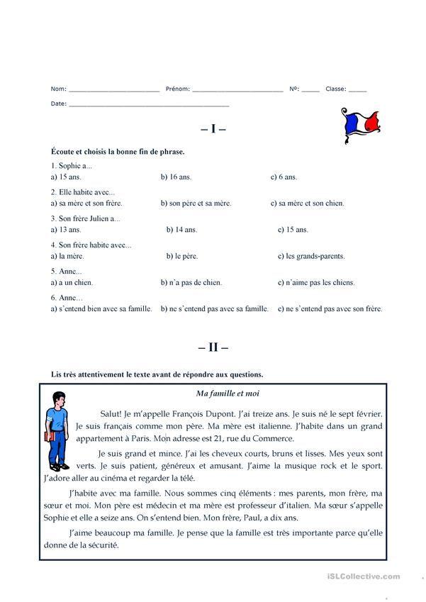Ma famille et moi | L'éducation française, Exercices de ...
