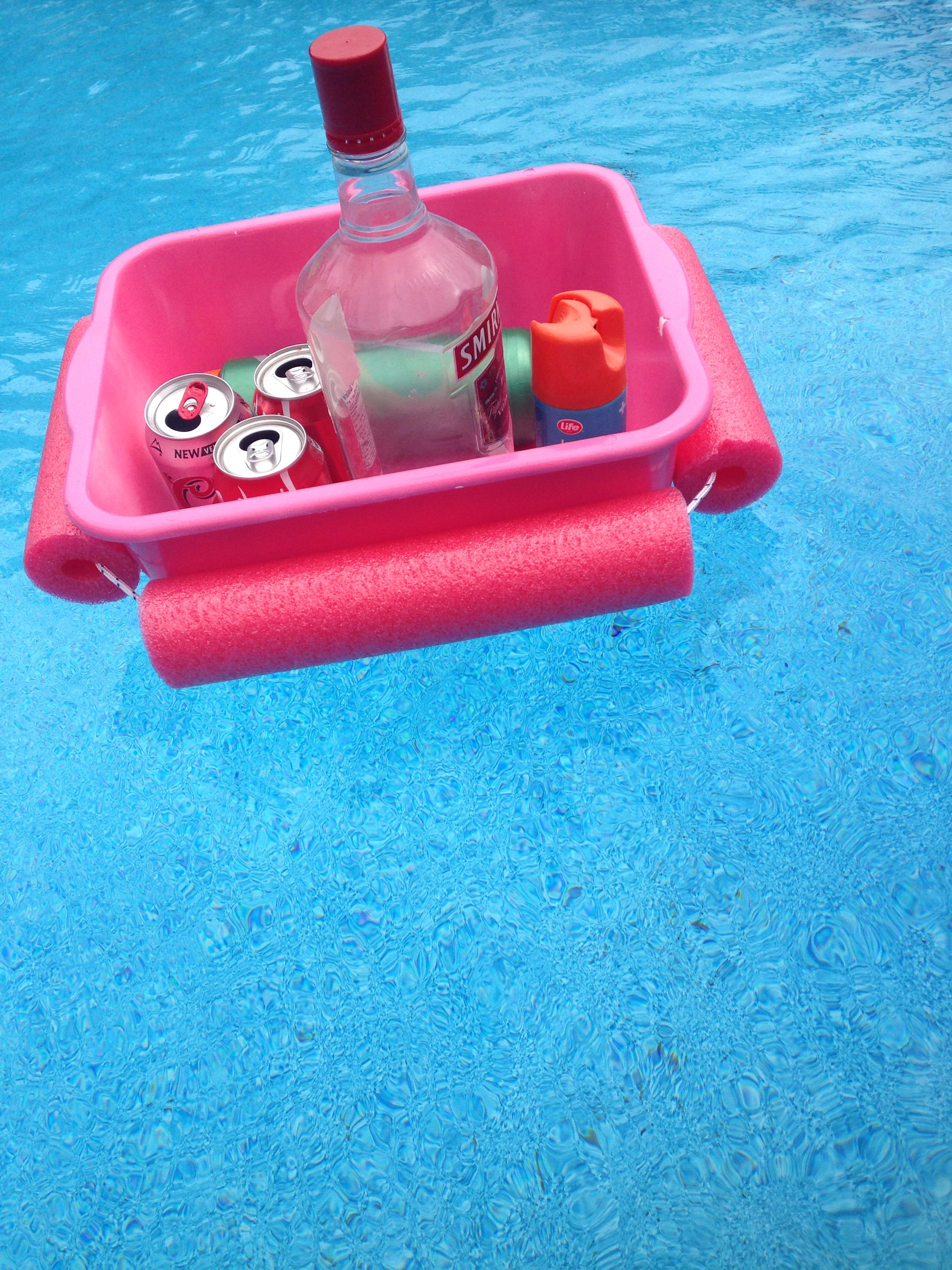 Threw Together A Little Floating Cooler For Canada Day Weekend I Spray Painted A 1 Container With Some Left Over Paint Cans Spray Paint Cans Floating Cooler