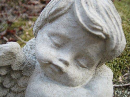 Angel Statue, Sleeping Cherub Concrete Figure, Cement Garden Decor