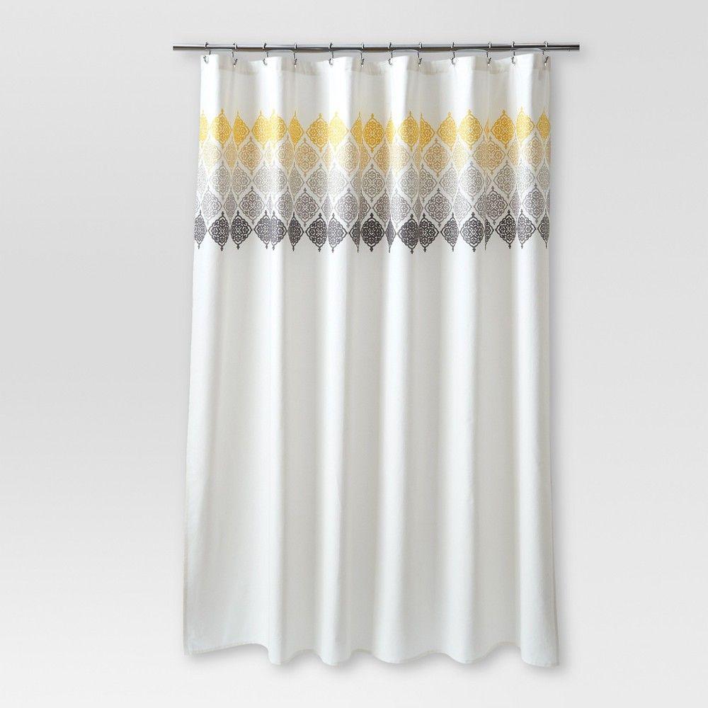 Medallion Shower Curtain Ombre Cream Threshold Gray White