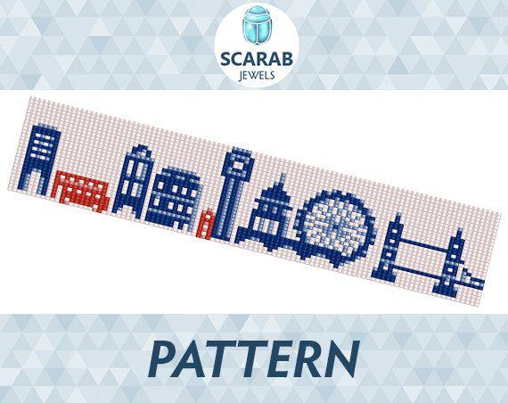 Loom Bead Pattern: London Bracelet / Cuff by ScarabJewels on Etsy