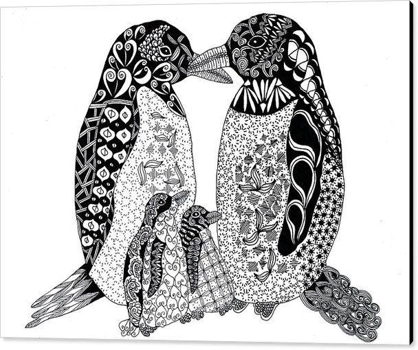 Penguin Family Canvas Print / Canvas Art By Sharon White – Zentangle