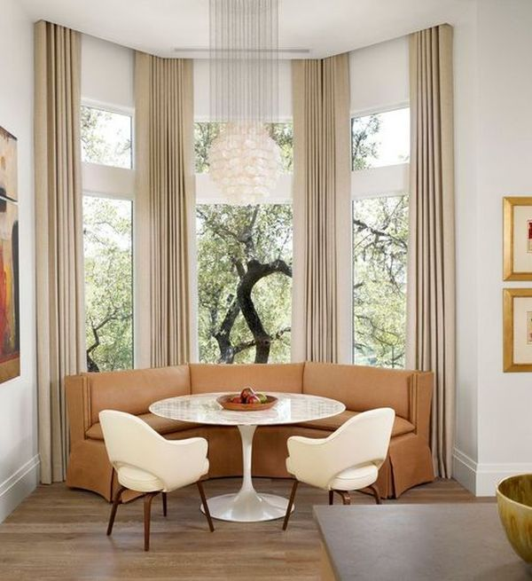 How To Solve The Curtain Problem When You Have Bay Windows Kitchen Bay Window Bay Window Seat Bay Window Treatments