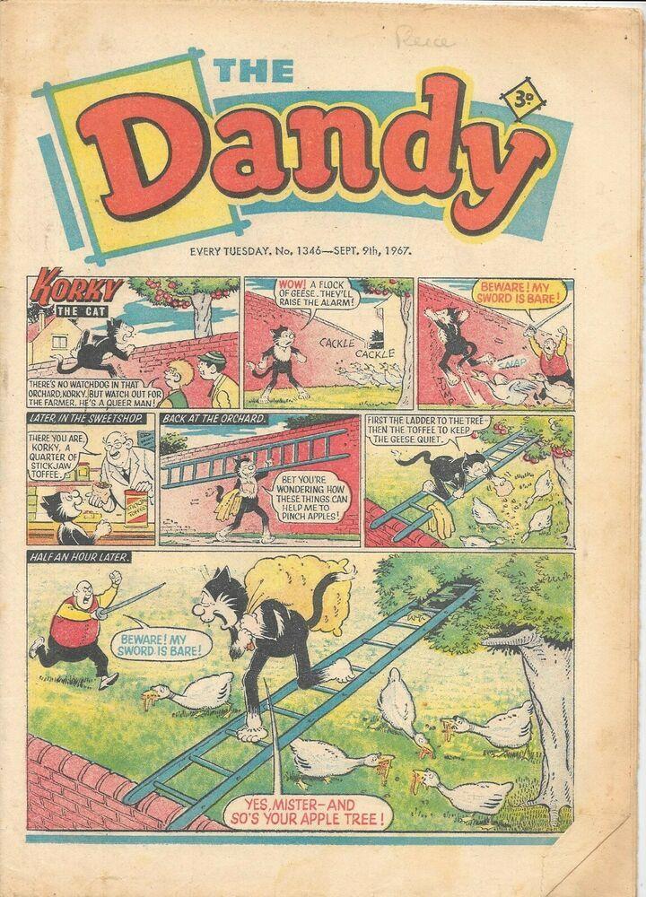 Vintage Dandy comic No 1346 Sept 9th 1967 Korky the Cat