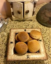 PRIMITIVE WOOD SQUARE TRAY GATHERING WITH FAUX BREAD BLACK TAN CRACKLE FARMHOUSE