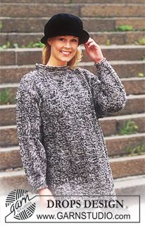 DROPS 53-11 - DROPS Sweater in Alpaca and Silke-Tweed in men's and women's sizes. Long or short model. - Free pattern by DROPS Design