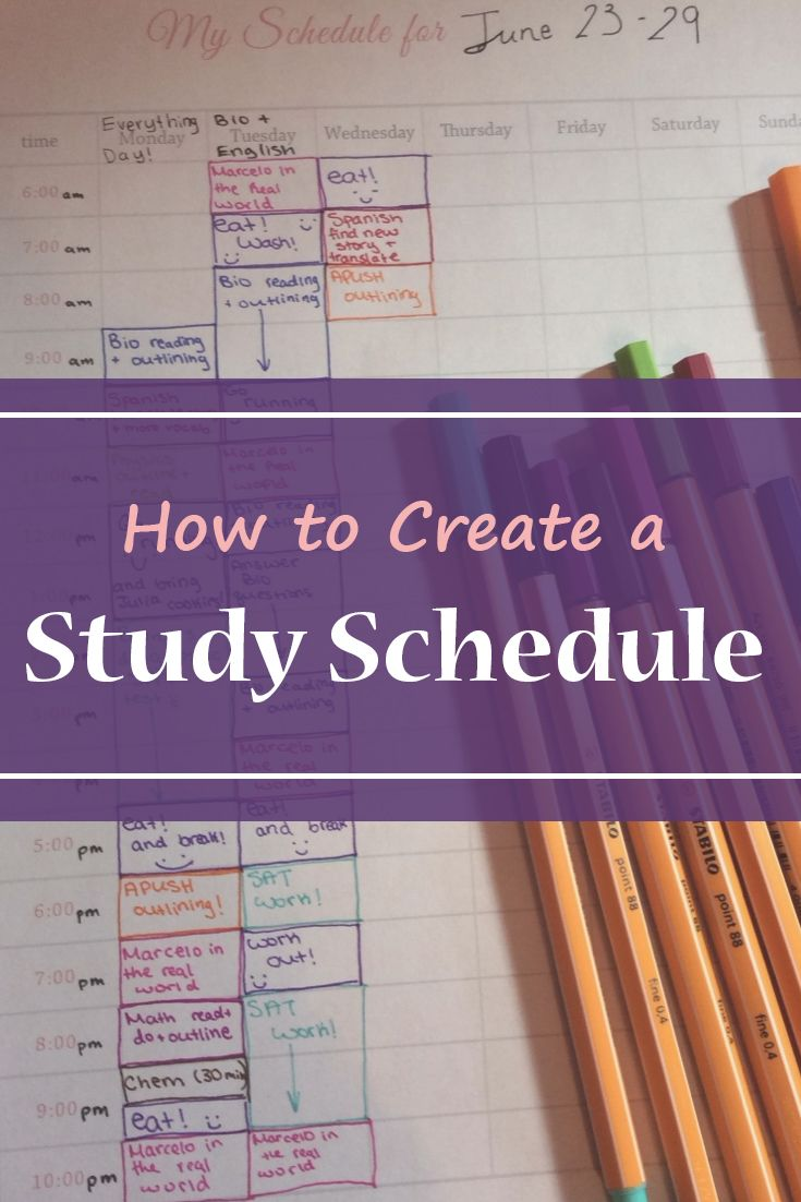 How To Create A Study Schedule Pinterest Study