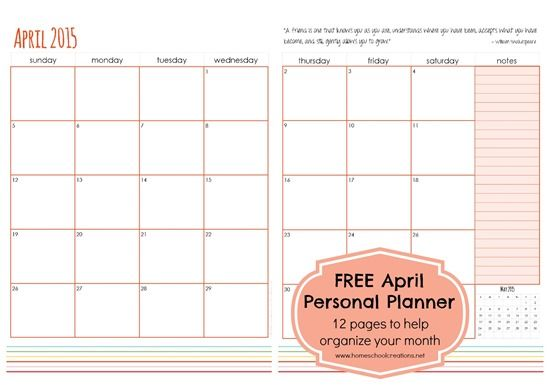 April Personal Planner Pages  Free Printable  Planners Free
