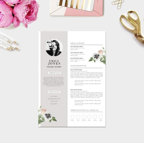 creative resume   photo    custom cv template   custom cover letter template  word psd     fonts