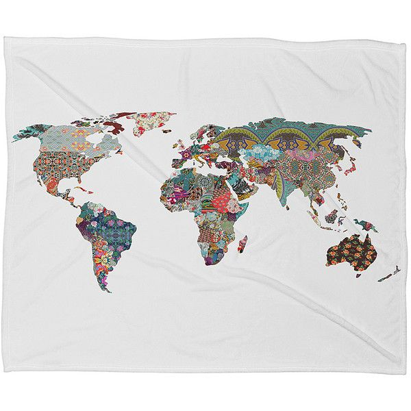 DENY Designs World Map Fleece Throw ($40) ❤ liked on Polyvore featuring home, bed & bath, bedding, blankets, fleece blanket, fleece bedding, fleece throw, deny designs and fleece throw blanket