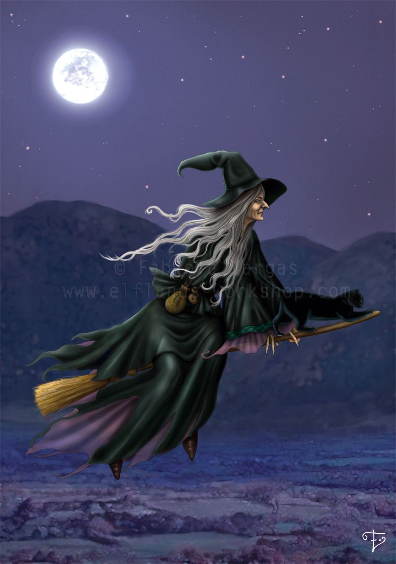 A Quiet Night By Taurina On Deviantart Brujas Volando Brujas De Halloween Ilustración De Halloween