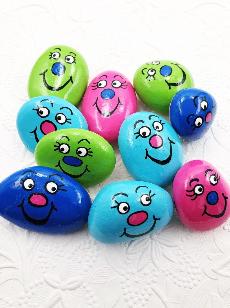 Worry Stones for Kids, Pocket Rock for Children, Back to School Comfort Stone, Silly Face Pocket Rock, Easter Basket Gift, Comfort Gift