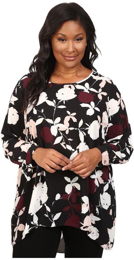 2deda429acae4 Vince Camuto Plus Plus Size Long Sleeve Chapel Rose High-Low Blouse ...