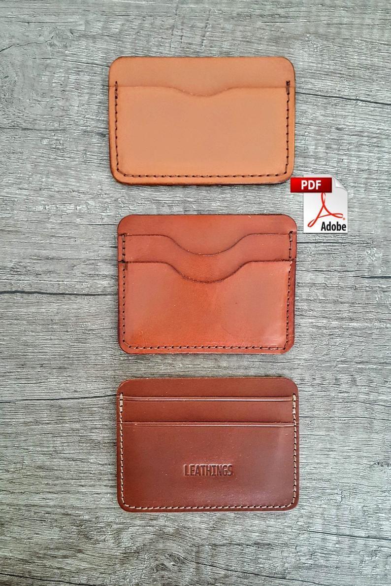 Pdf Slim Card Wallet Patterns 3 Different Pattern Leather Card Etsy Card Wallet Pattern Leather Wallet Pattern Leather Card Holder Pattern