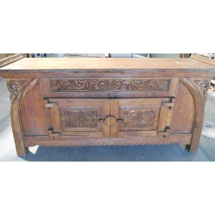 PL 3779 Antique Javanese Boat Teak Buffet   balinese and indonesian  furniture   Balinese Furniture. PL 3779 Antique Javanese Boat Teak Buffet   balinese and