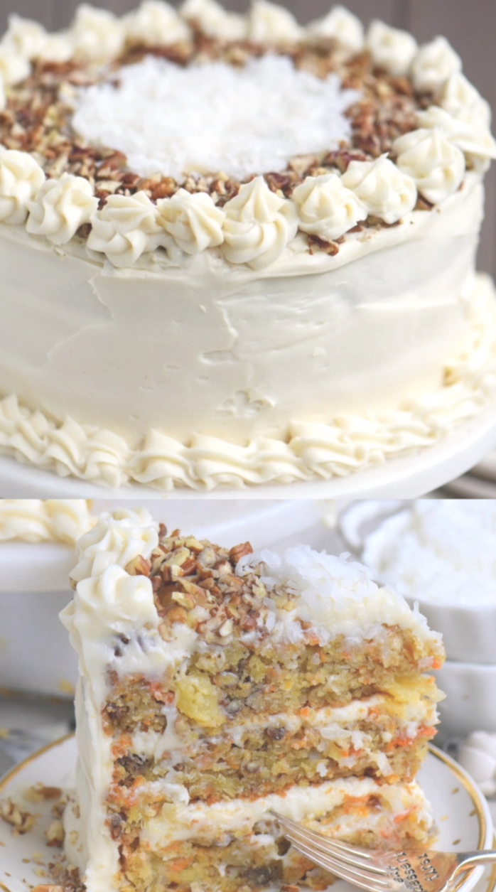 The BEST Carrot Cake you'll ever try! So easy to make and as an added bonus, there's no oil or butter! This To Die For Carrot Cake receives rave reviews for it's unbelievable moistness and flavor! I know this cake will quickly become a family favorite! // Mom On Timeout