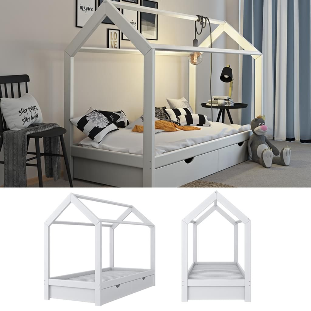 Vitalispa Kinderbett Hausbett Weiss 90x200 Cm Schubladen Bett Holz