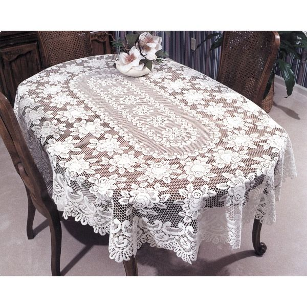 Delightful Rose Lace Tablecloth And Place Mats | Lace Tablecloths