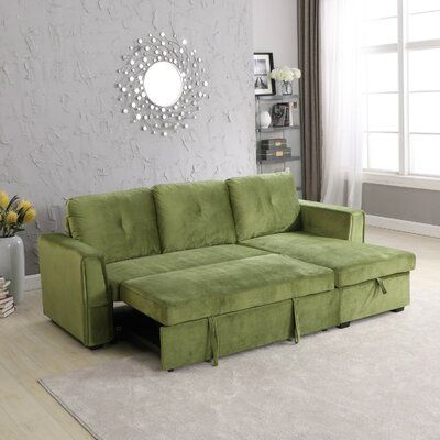 Orren Ellis Harshman Zarina Sleeper Sectional Upholstery Colour Green Sleeper Sectional Modern Sectional Sectional Sofa