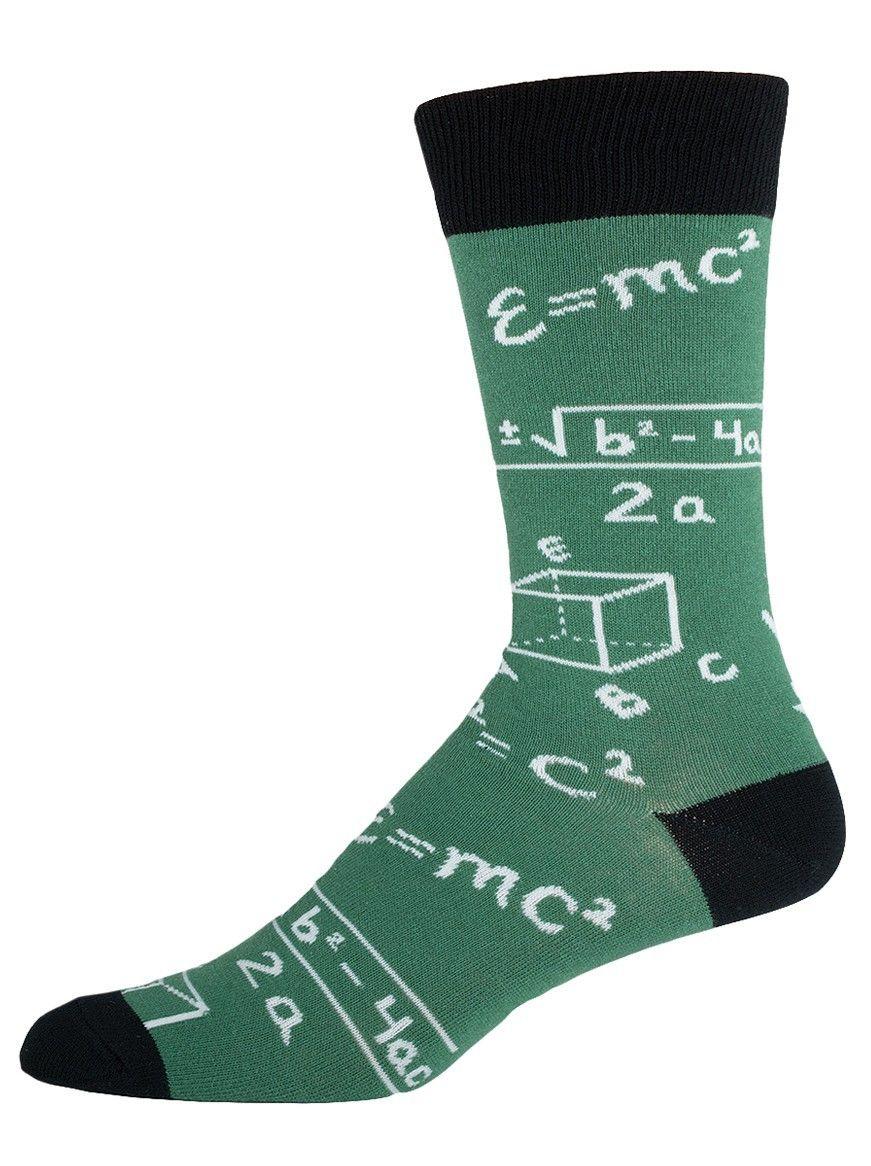 The Joy of Socks - Green Math Equations Socks (Men's), $8.78 (http://www.joyofsocks.com/green-math-equations-socks-mens/)