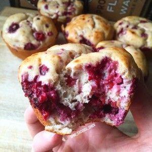 Raspberry Protein Pancake Muffins