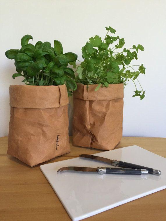Washable Kraft Paper Storage Bag   Brown SMALL