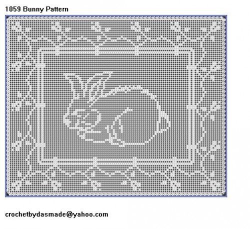 Item 1059 easter bunny filet crochet doily table mat picture pattern item 1059 easter bunny filet crochet doily table mat picture pattern dt1010fo