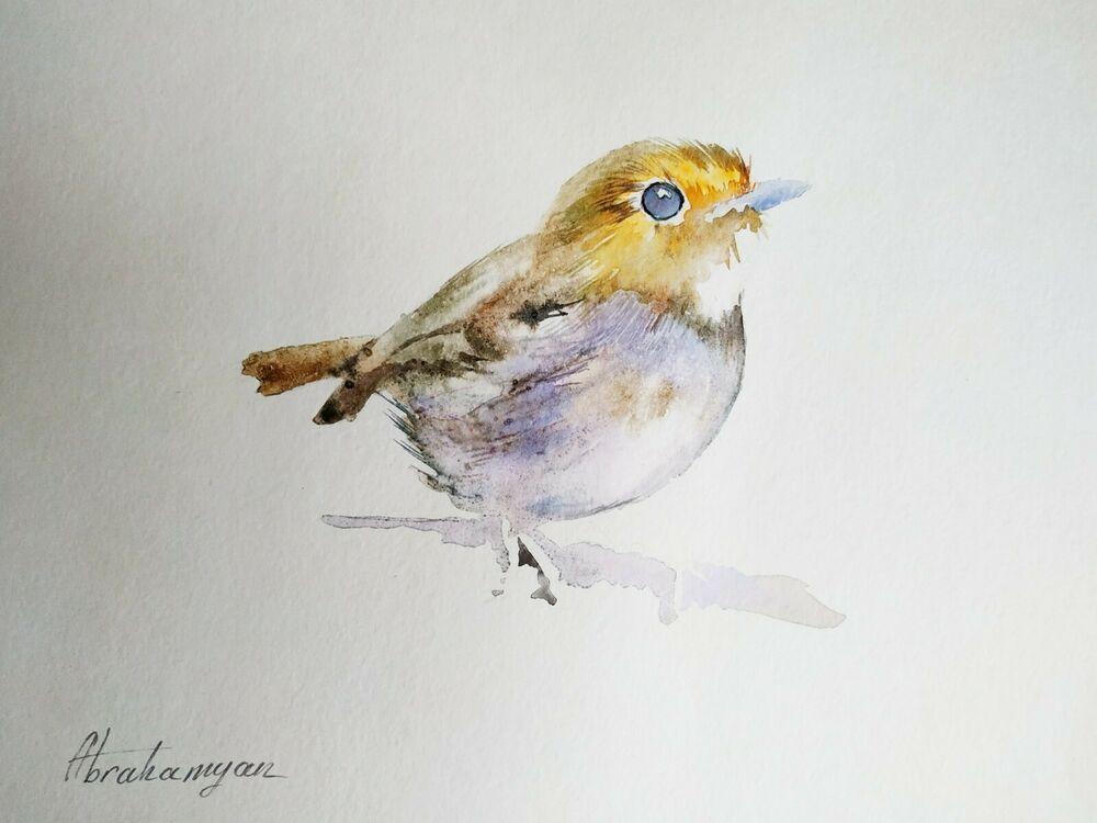 Wren, Birds, Watercolor artwork, Handmade, Original painting on paper #Realism