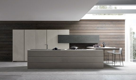 Wood, concrete combination open floor-plan kitchen design