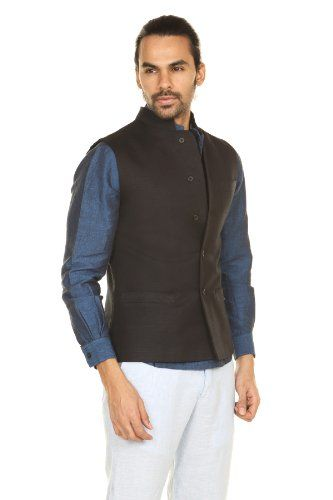 2f51135f A.N.D. by Anita Dongre Men's Button down Vest with Mandarin Collar ...