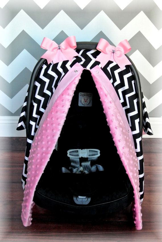 Minky Carseat Canopy Car Seat Cover Light Pink Black