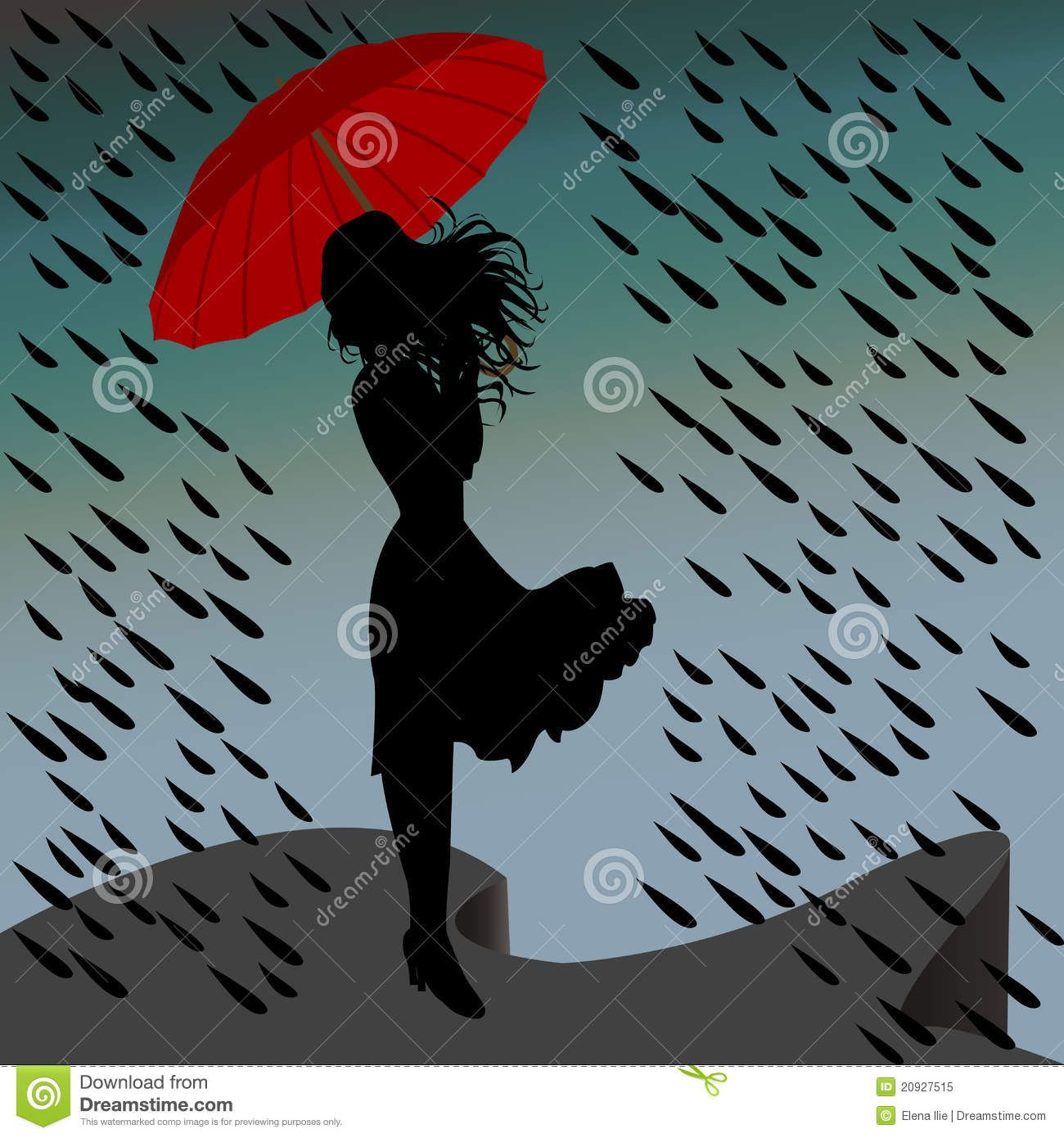 Women With Umbrellas At Graves In Rain Woman Silhouette In The