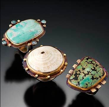 Rings | Julie Shaw. Sterling silver, 18k gold, 22k gold, petrified shell, turquoise, varisite and opals.