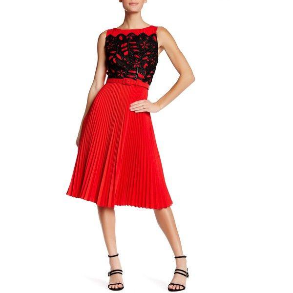 859802ca6d00 Eva Franco Claudette Lace Accordion Pleat Dress ( 140) ❤ liked on Polyvore  featuring dresses