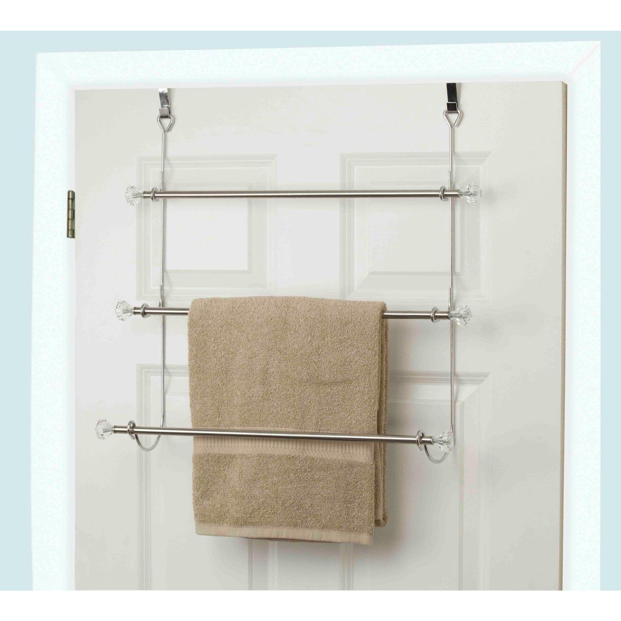 Home Basics 3 Tier Chrome Plated Steel Over The Door Towel Rack Walmart Com Towel Rack Over Door Towel Rack Home Basics