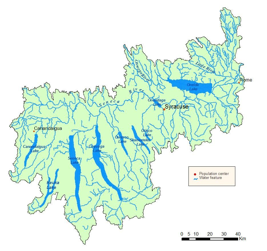 Oswego RiverFinger Lakes Watershed Map Its Headwaters Originate - Us map of rivers lakes and mountains