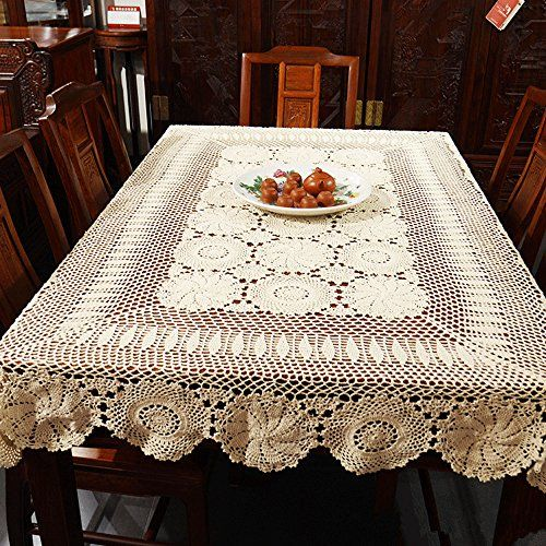 Ustide Rustic Floral Crochet Tablecloth Rectangle Beige Cotton Lace Table Overlays 51 X70 Fillet Crochet Patterns Crochet Tablecloth Crochet Tablecloth Pattern