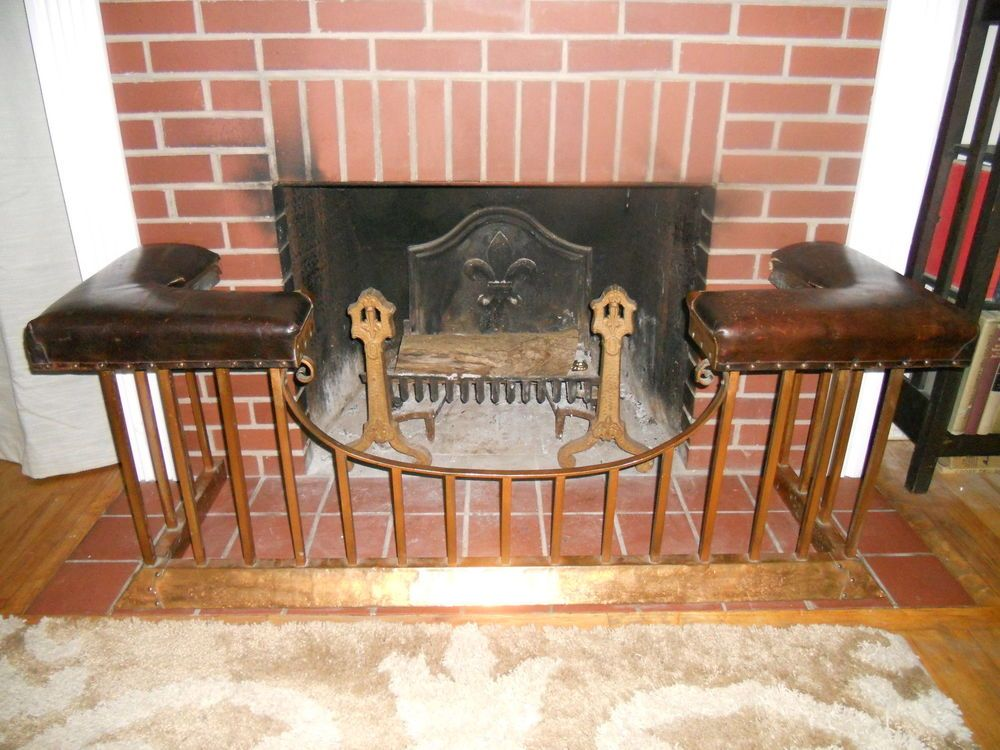 Antique English Club Fender Fireplace Seat Bench 1900 Leather Seat Copper Frame Antique Fireplace Fireplace Fireplace Seating