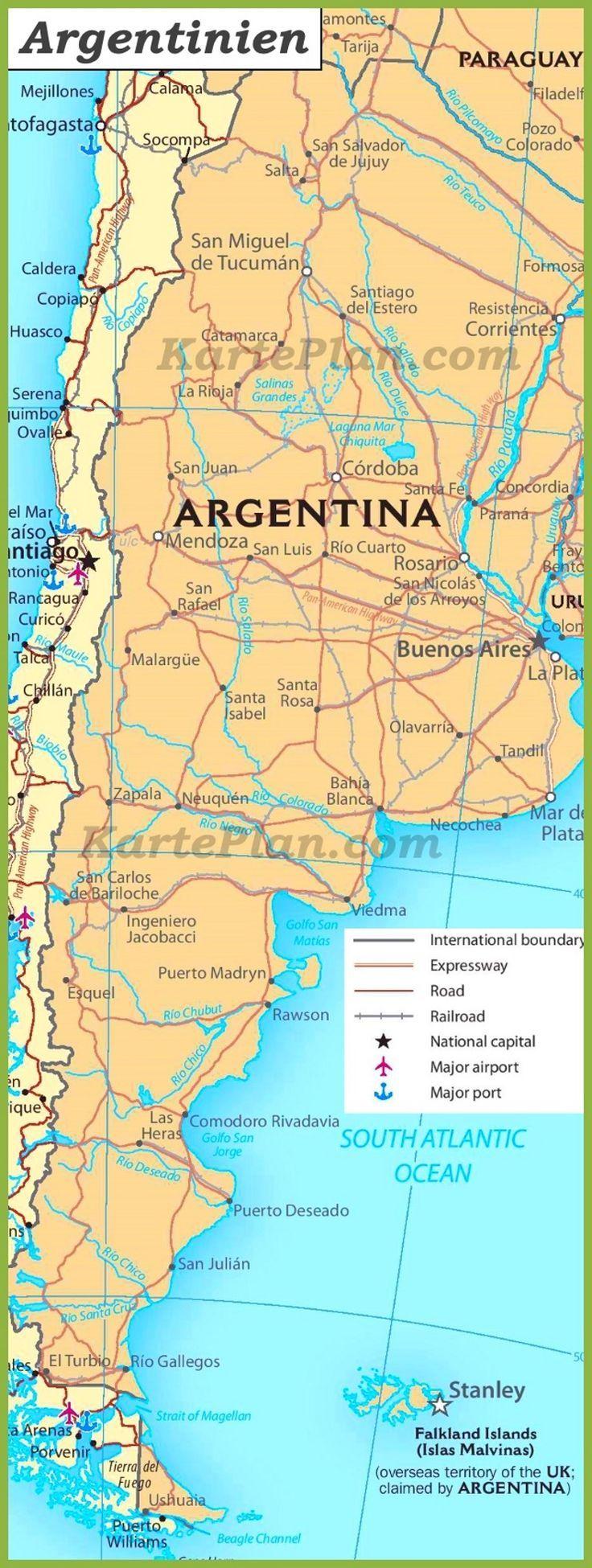 Azoren Karte Weltatlas.Argentinien Straßenkarte Karteplan Com Argentinien