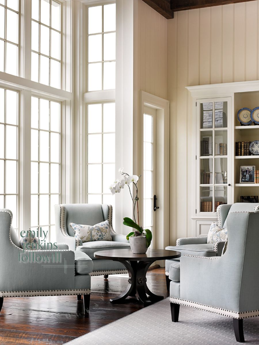 Living Room Designs Traditional: Nice Nailhead Trim Upholstery Light Cool Grey Cocktail