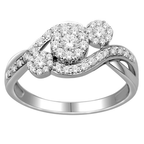 White Gold Diamond Engagement Ring With Moissanite Center