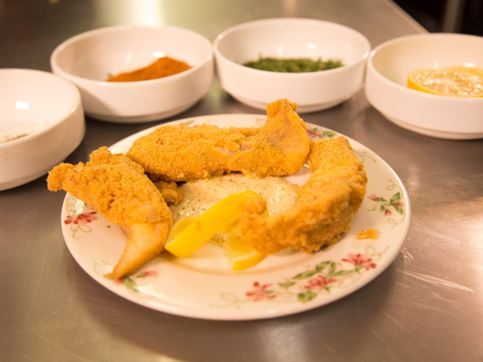Catfish Fingers with Cajun Remoulade Sauce recipe  via Food Network