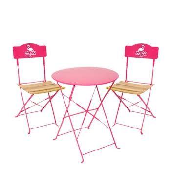 Salon de jardin rose 2 chaises, 1 table ronde - Acier et ...