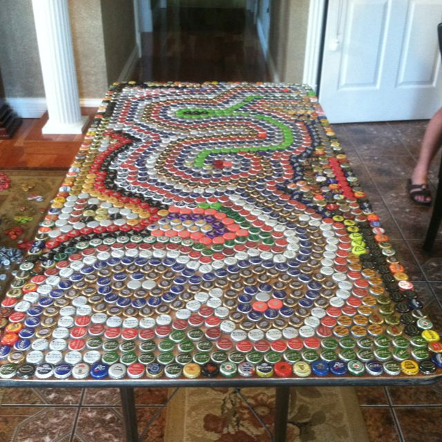 beer pong table made out of bottle caps d future grown