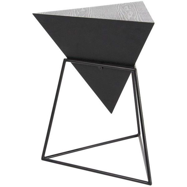 Wood/Metal Triangle End Table ($89) ❤ Liked On Polyvore Featuring Home,