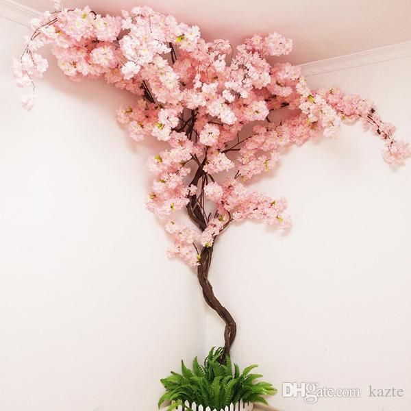 Artificial Cherry Tree Vine Fake Cherry Blossom Flower Branch Sakura Tree Stem For Event Wedding Tree Deco Artificial Decorative Flowers From Kazte 5 53 Dhg Artificial Cherry Blossom Tree Cherry Blossom