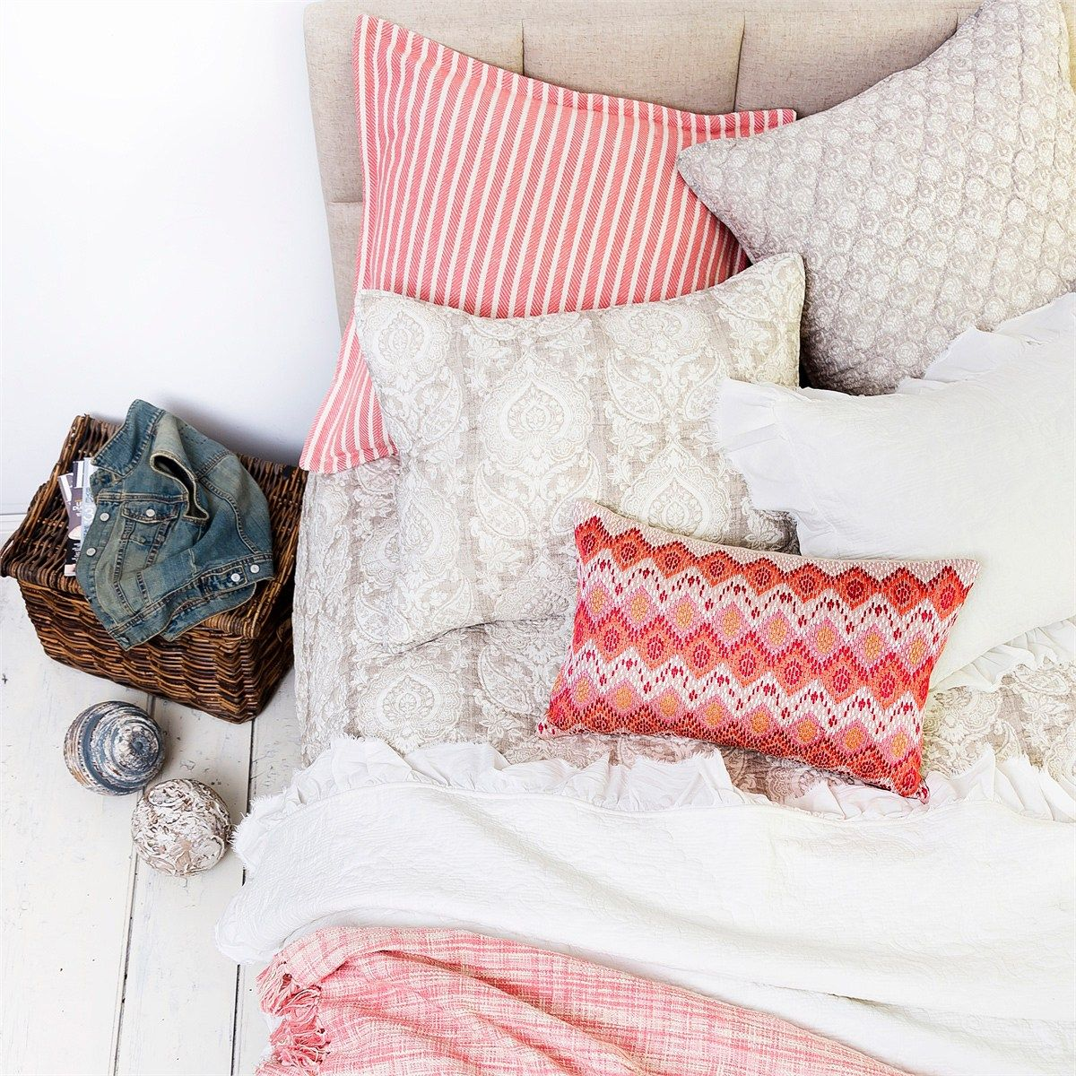 Accented Neutral Color Scheme Bedroom: Summer Bedroom Inspiration - Neutrals + Coral