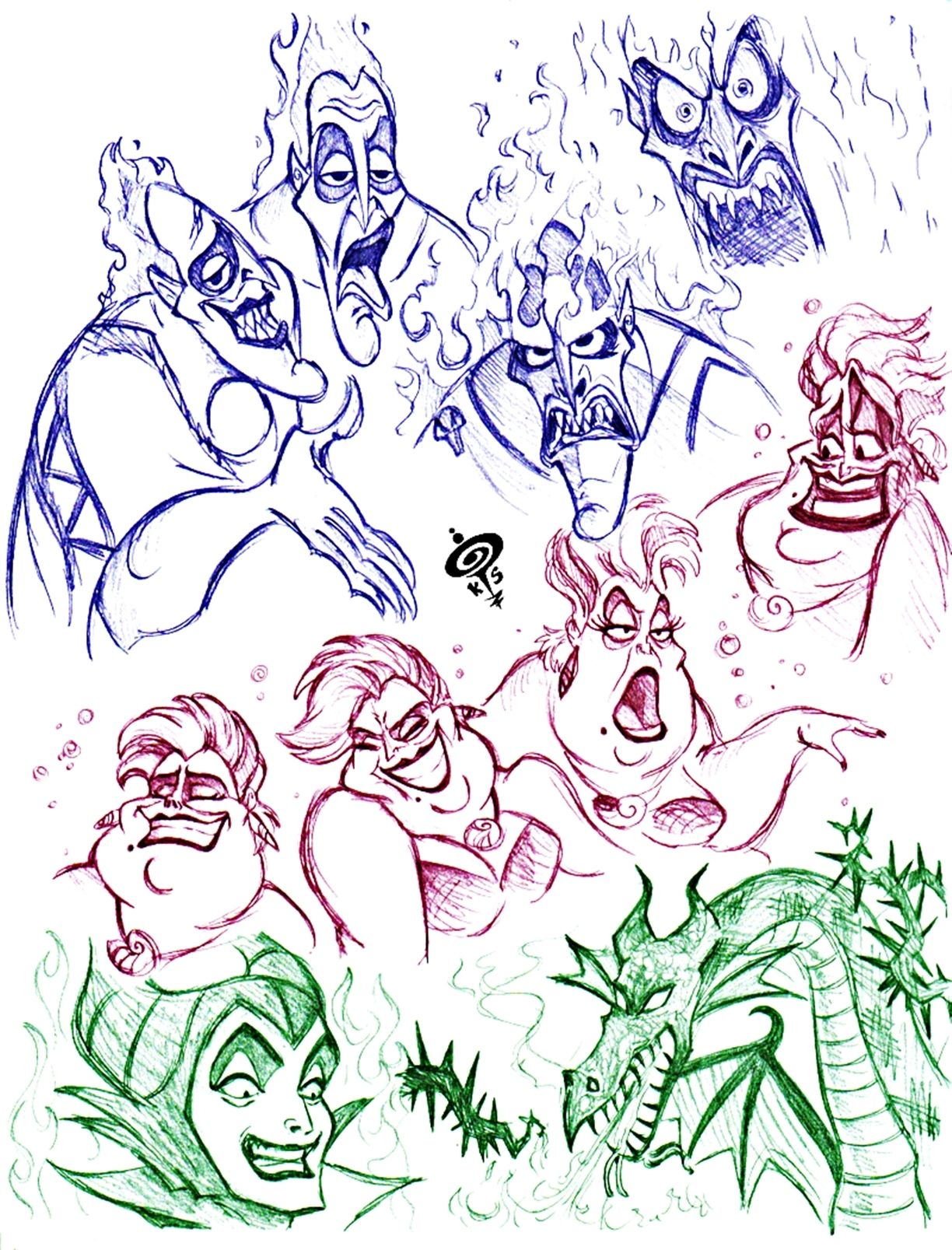 Disney ursula coloring pages - Disney Villains Coloring Pages Walt Disney Fan Art Disney Villains Sketch Walt Disney